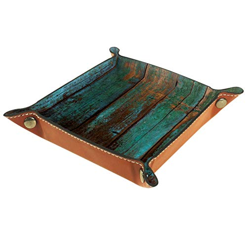 N/ A DIY Design Multi-Use Microfiber Leather Valet Tray,Old Wood Panels Catchall Tray,Men Women Jewelry Key Tray,Bedside Storage Tray Box for Key Phone Coin Watches 14.5x14.5x3cm
