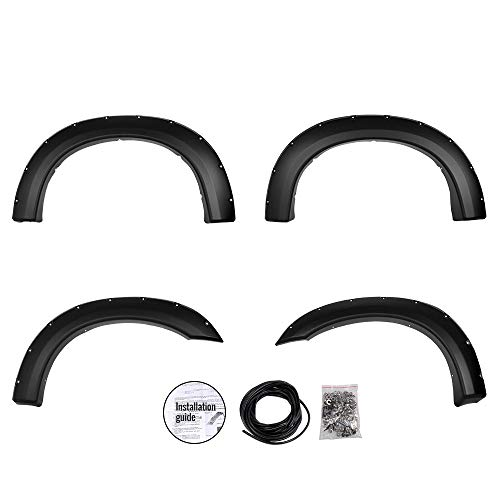 4 PCS Wheel Fender Flares Pocket Rivet Bolt Style Smooth Black for Ford F250 F350 Super Duty 1999-2007 Wheel Protection Guards Cover 2000 2001 2002 2003 2004 2005 2006