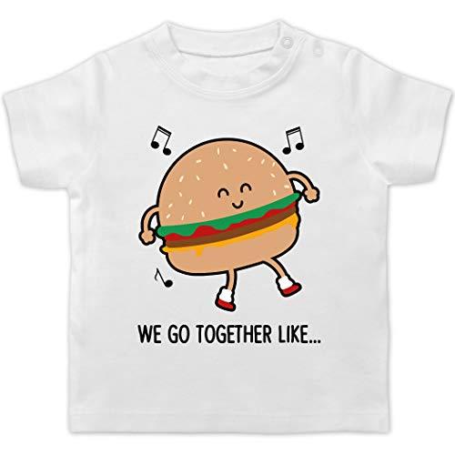 Karneval und Fasching Baby - We go Together Like. Burger - 18/24 Monate - Weiß - Verkleidung Kostüm - BZ02 - Baby T-Shirt Kurzarm