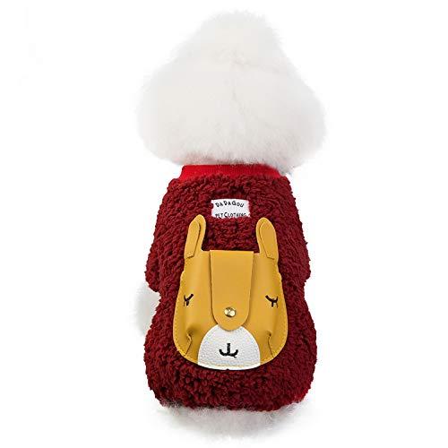 smalllee_lucky_store Haustier-Overall aus dickem Sherpa-Fleece, für kleine Hunde, Katzen, Bär, Taschenpullover, Jacke, weicher Ganzkörper-Pyjama