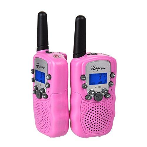 Upgrow 2X Walkie Talkies Set Kinder Funkgeräte 3KM Reichweite 8 Kanäle mit Taschenlampe Walki Talki Kinder (rosa)