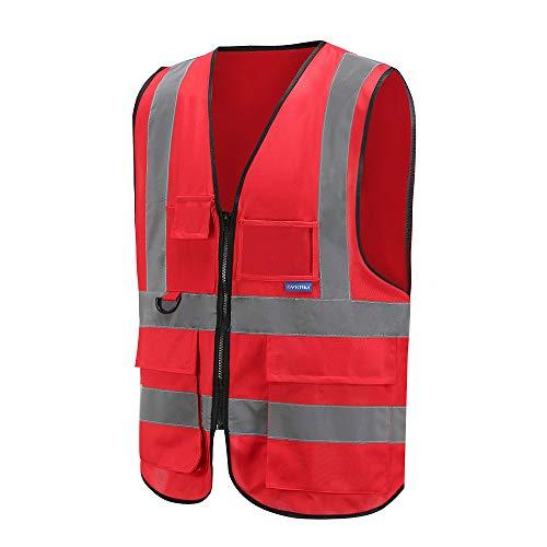 Mehrere Taschen,Mehrere Farben, Unisex hochsichtbare Warnweste Hohe Sichtbarkeit Warnweste Reflektierende Weste Reißverschluss Sicherheitswesten EN ISO 20471 (XXL, Groß rot)