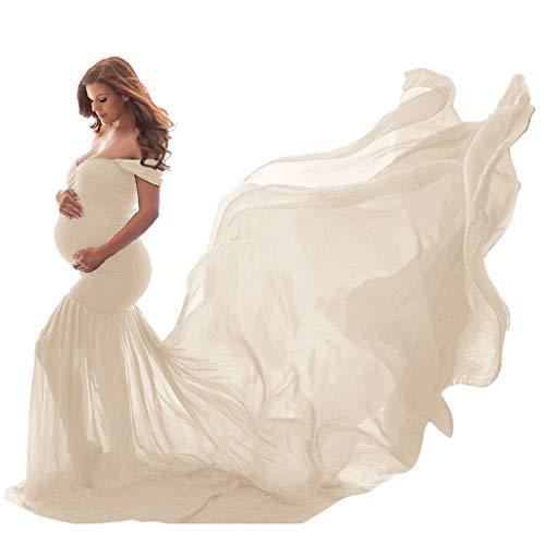URSING Schwangere Frauen Fotografie Stützen Schwanger Kleid Maternity Gown Split Front Foto Shoot Kleid Schwangerschafts Kleid Mutterschaft Fotografie Kleidung Schwangerschafts Maxi Kleid