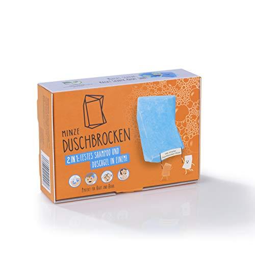 Duschbrocken Minze | 2 in 1: Festes Shampoo und Duschgel in einem | Plastikfrei und vegan | Inkl. smarter Dose [Die Höhle der Löwen]