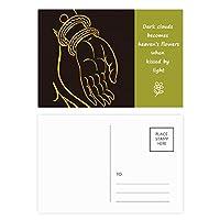 仏教ブラックイエローハンドパターン 詩のポストカードセットサンクスカード郵送側20個