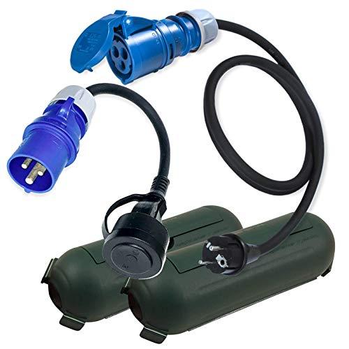 CEE Adapter Kabel Stecker Kupplung Schutzbox Set Grün Camping Boot Wohnmobil Garten H07RN-F 3x2,5mm² 230V 16A Stromadapter 1,5m u. 0,3m