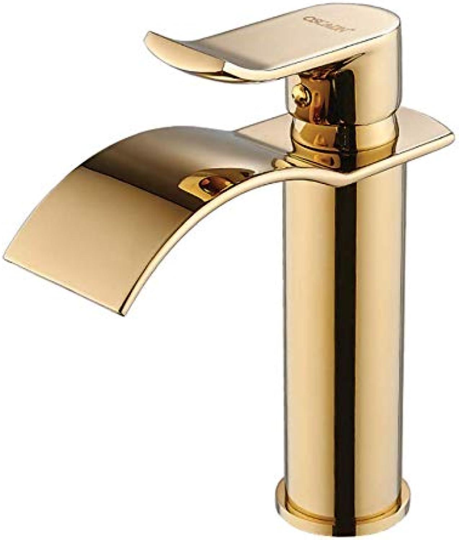 Wasserhahn Waschbecken Kupfernes Heies Und Kaltes Beckenhahneinzellochbadezimmerbadezimmer über Goldenem Wasserfallhahn Des Beckenwaschbeckens