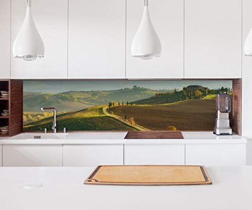 Aufkleber Küchenrückwand Landschaft Toskana oriental Steppe Weg Vintage Kitchen Küche Folie Fliesen Möbelfolie Spritzschutz 22?1434, Höhe x Länge:60cm x 200cm