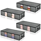 HERNEAT Underbed Storage Bags Organize Containers 4pack with Firm Handle and Metal Zipper Large Space Saver Comforters Under Bed Storage Bags Breathable with Clear Window for Blankets Clothes