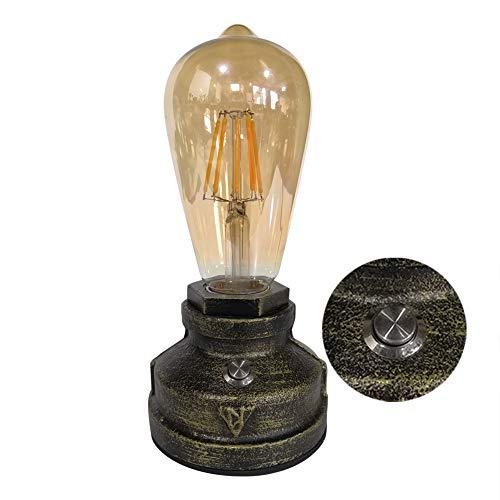 LIKE99 Hierro Base Steampunk Lámpara Escritorio Antiguo Metal Tubo Lámpara de Mesa de Luz del Escritorio Lámpara de Mesilla Noche para Cafe Bar Estudio de Luz Nocturna de la Cabecera