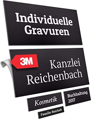 Namensschild mit Gravur aus hochwertigem Aluminium – selbstklebend wetterfest schwarz