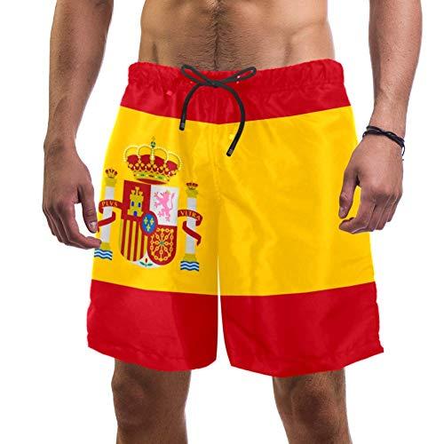 Eslifey Herren Strand-Shorts, Flagge von Spanien, Badehose, elastischer Badeanzug, Boardshorts für Herren, L Gr. L/XL, multi