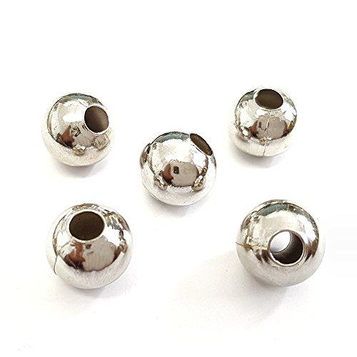 Présentoirs pour Bijoux Perles métal Rondes Boules Creuses 10 mm Grisx 100 pièces