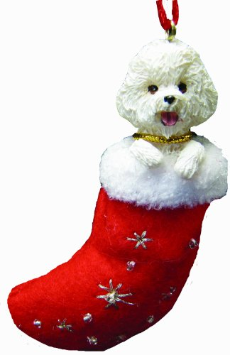 Bichon Frise Christmas Stocking Ornament with 'Santa's Little Pals' Hand Painted and Stitched Detail