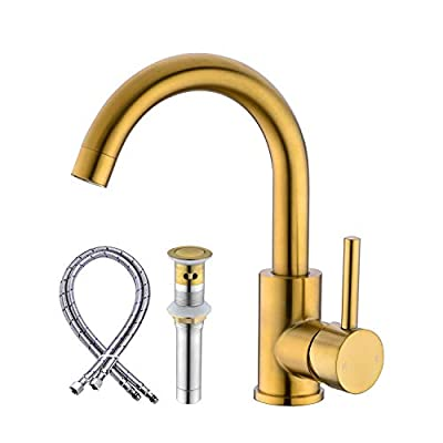 Anpean Single Handle Bathroom Sink Faucet One Hole with Pop-Up Drain and Water Supply Lines, Brushed Gold