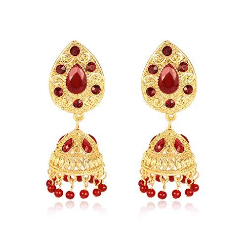 Mouci Pendientes étnicos India Mujeres cuelgan oro de lujo con cuentas de borla de diamantes de imitación Colgante Tradición Tallada Joyería vintage Regalos de flecos gitanos Decoración elegante