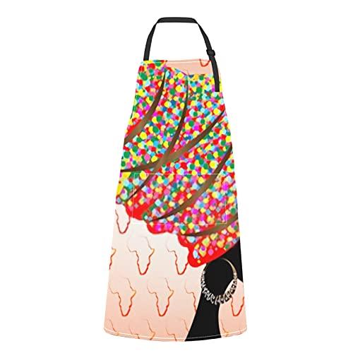 Delantal unisex con 2 bolsillos Retrato Hermosa mujer africana Turbante tradicional Delantales para mujeres Hombres Adultos Pintor impermeable Baberos de cocina para chef Cocina Pintura Jardinería Pa