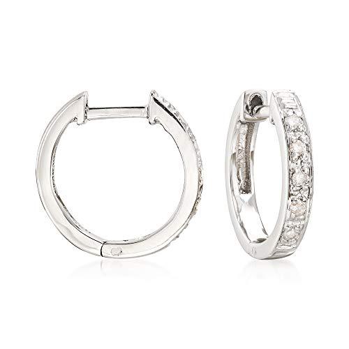 Ross-Simons Diamond-Accented Huggie Hoop Earrings in Sterling Silver For Women 925