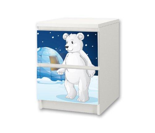 Stikkipix Eisbär Möbelsticker/Aufkleber für Kinderzimmer Kommode/Nachttisch MALM von IKEA - NS03 - Möbel Nicht Inklusive
