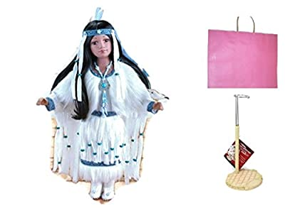 Cholene Native American Porcelain Doll With Doll Stand and Gift Bag (bundle)