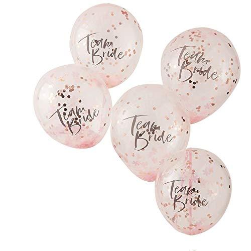 JGA-Ballons/Luft-Ballons Team Bride transparent & Konfetti rosé-Gold/JGA Accessoire-s Deko-Ration Zubehör Junggesellinnen-Abschied Hen-Party Frau-en Braut (5 Ballons)