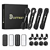 DIFFWAY Elastic No Tie Shoelaces - 4 Pairs, 2 Types of Upgraded Tieless Shoe Laces for Kids and Adults (Black-Black-Black-Black)