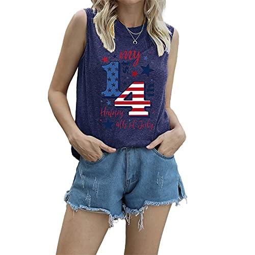 Mayntop - Maglietta da donna, con bandiera dell'America, motivo 'God Bless USA', 4 luglio, a maniche corte, B-Navy, 50