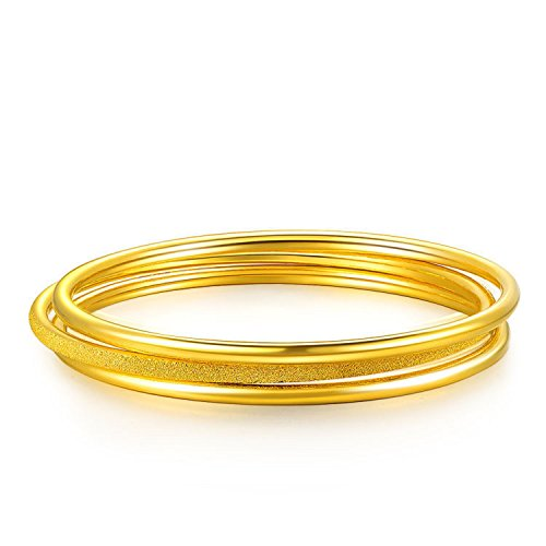 GOWE 24k Pure Gold Bangle for Women Female Trendy Fashion Smooth Worn Classic Bracelet Upscale Hot Fine Jewelry Solid 999 Bangles Gem Color:Smooth