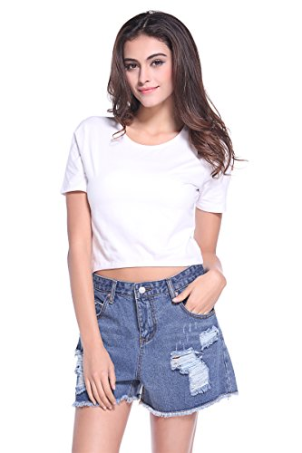 ZLYC Women Basic Crop Top Midriff Tee Casual T Shirt Sports Yoga Shirts (Tag S = US 0-2, Short Sleeve White)