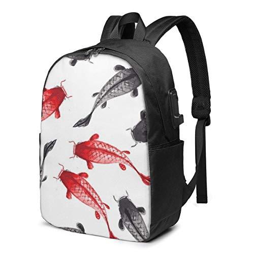 AOOEDM - Mochila de pez Rojo y Negro con Carpa de Koi, para Estudiantes universitarios, Viajes de Negocios, con Puerto de Carga USB, para portátiles de hasta 15,6 Pulgadas