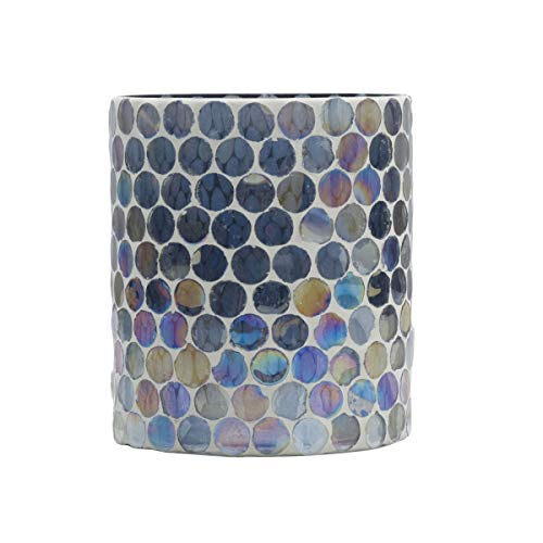 Elements Mosaic Glass Candle Holder, Gray