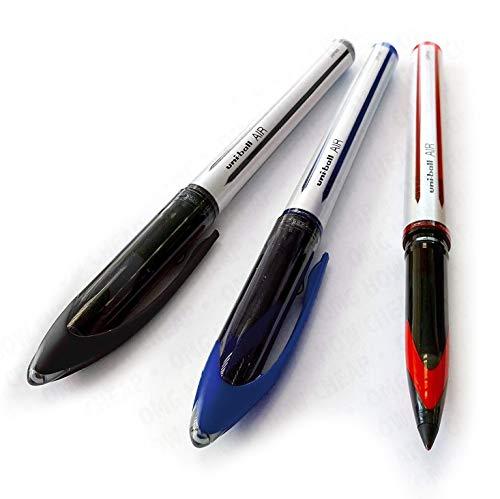 Uni-Ball AIR-Penna a sfera a punta media, 0,7 mm, confezione da 3, colore: rosso, Blu, Nero, UBA-188-L