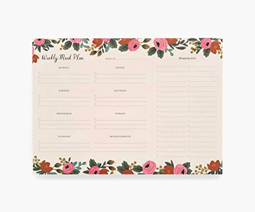 Rifle Paper Co. Rosa Weekly Meal Planner, 52 Tear-Off Pages with Shopping List, Printed in Full Color, Master Weekly Meal Planning with Organized Notepad