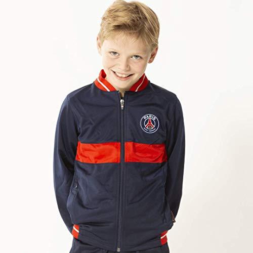 PARIS SAINT GERMAIN Morefootballs - Offizielle Trainingsjacke Junior für Kinder | Saison 18/19 Größe 164 | PSG Langarm Jacke dunkelblau-rot | 100% Polyester Cardigan für Fußball Training