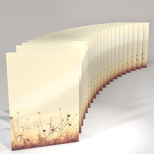 Natur pur Motivpapier Herbst-Wiese in der Sonne, 20 Blatt Briefpapier DIN A4, 90g/qm