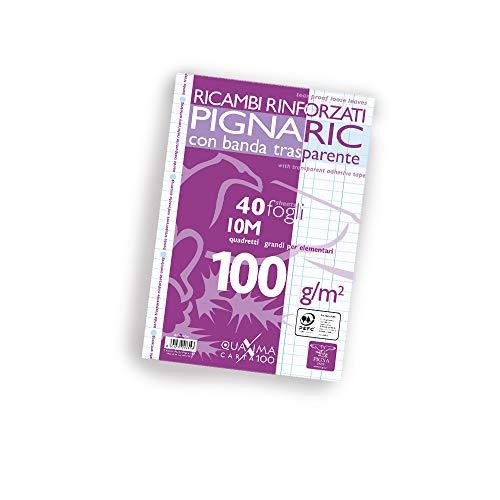 Pigna 022223710, Ricambio con Banda Rinforzata, Rigatura 10, quadretti 1 cm per 1° elementare, Carta 100g/mq, Pacco da 40 Fogli