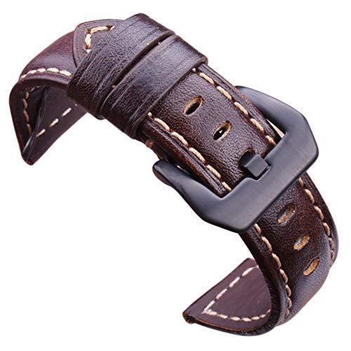 ZZDH Correa Reloj Cuero Correa 20 mm 22 mm 24 mm Correa marrón Oscuro con Hebilla de Acero Inoxidable Negra de Plata (Band Color : Dark Brown Black, Band Width : 20mm)