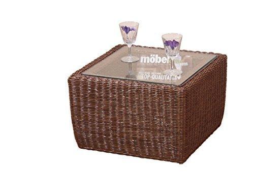 moebel direkt online Table d'appoint Tantisch Conseil Table avec Plateau en Verre Verre de Protection - Rotin Marron, 32x50x50
