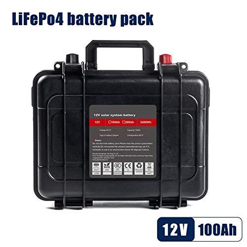 12V 100Ah Deep Cycle Lifepo4 Lithium-Eisenphosphat-Batterie, BMS eingebaut, für Golfwagen- / EV- / RV- / Solarenergiespeicherbatterie