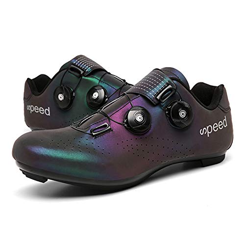 KOIJWWF Zapatos de Bicicleta atléticos Profesionales, Zapatos de Ciclismo MTB, Zapatos de Bicicleta de Carretera con Bloqueo automático para Hombres, Zapatillas de Ciclismo para Mujeres,Negro,44