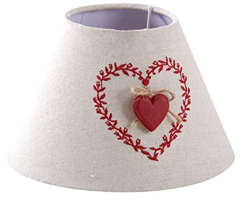 Abat-jour en coton et lin coeur rouge