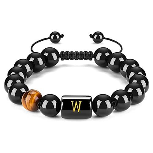 CeFoney Pulseras para parejas, 26 pulseras de letras ajustables de 10 mm de ónix negro natural, ojo de tigre de piedra trenzada pulsera ajustable y significativo regalo