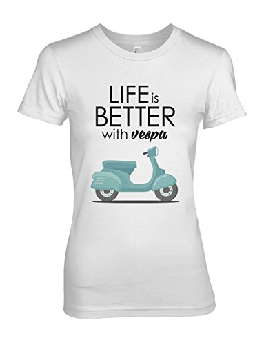 Life is Better with Vespa Scooter Moped Damen T-Shirt Weiß X-Large