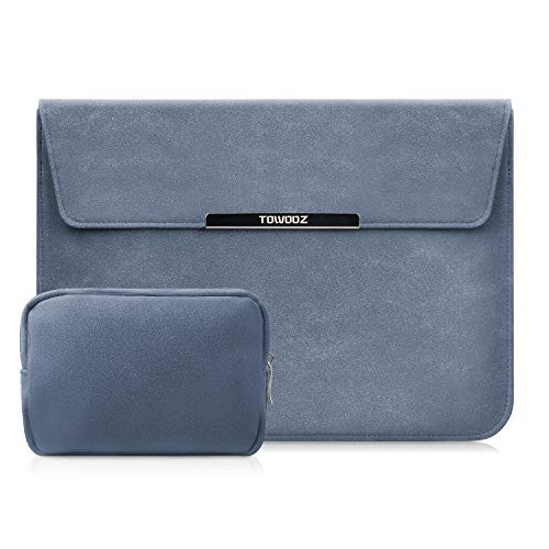 TOWOOZ 13.3 Inch Laptop Sleeve Case Compatible with MacBook Air/MacBook Pro 13-13.3 inch/iPad Pro/Surface Pro, Artificial Leather, Innovative Materials, Folding Type (13-13.3inch, Navy Blue)