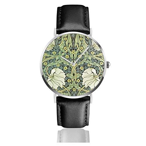 Pimpernel by William Morris Classic Casual Reloj de cuarzo de acero inoxidable correa de cuero negro Relojes de pulsera