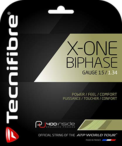 Tecnifibre X-One Biphase – 18 Gauge in Natural Color – Multifilament Tennis Racquet String Sets 2-Pack (2 Sets Per Order) – Best for Power and Comfort