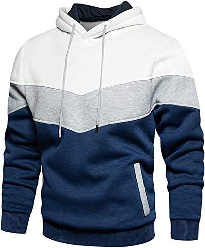 Jocbinltd Herren Kapuzenpullover Hoodie Farbblock Pullover Langarm Fleece Hoody Sweatshirt mit Taschen White Medium