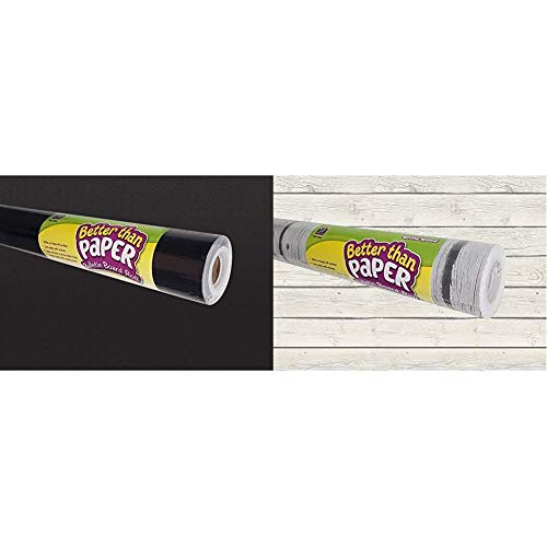 Teacher Created Resources Better Than Paper Bulletin Board Roll, Black - 77314 & White Wood Better Than Paper Bulletin Board Roll