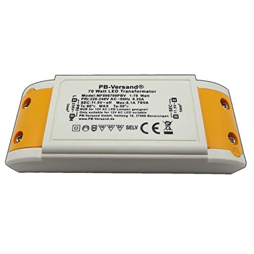 LED Trafo 1-70 Watt 12V~ AC - Transformator - Trafo für G4, GU4, GU5.3, MR16, MR11 Leuchtmittel Spots und mehr