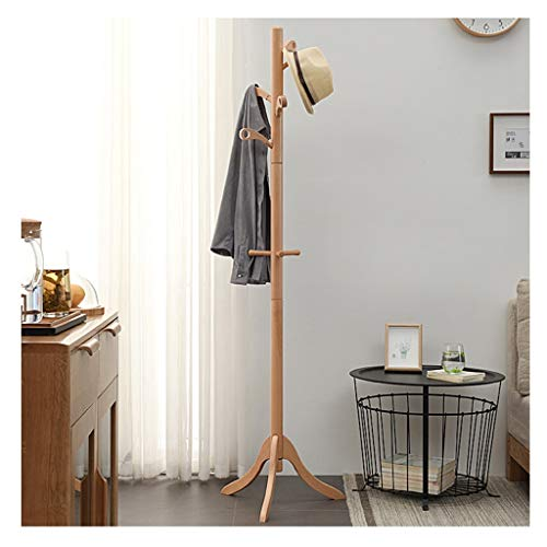 MKVRS Stand Solid Wood Floor Coat Rack Simple Assembly Triangle Base Clothes Shelves Hanger Home Storage Bedroom Coat Stand Coat Rack Coat Stand (Color : Wood color)